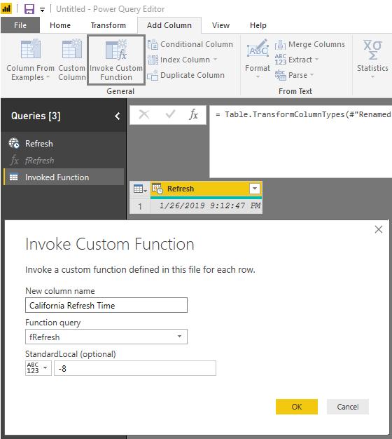 DST Refresh Date Function Power BI Service - add column: Invoke function in Custom Column