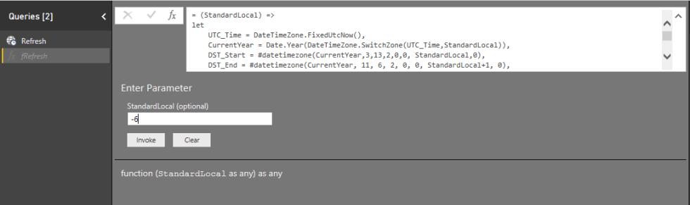 DST Refresh Date Function Power BI Service. Invoke custom function.