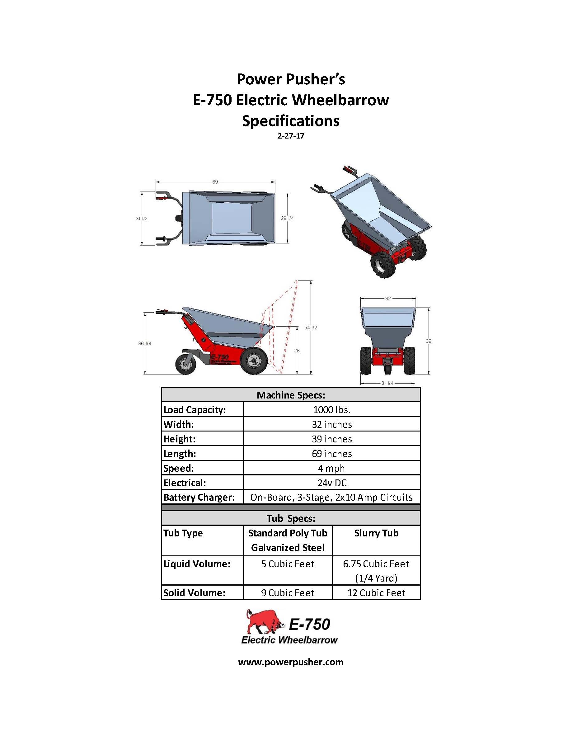E 750 Wheelbarrow Specifications Powerpusher