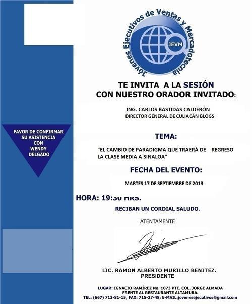 Invitacion a Socios Lic. Carlos Bastidas