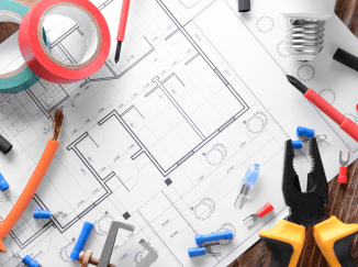 electrician tools and blueprint