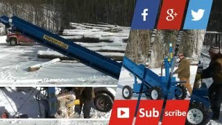 wood splitter review on our Self-Propelled Double Vertical Wood Splitter with Conveyor