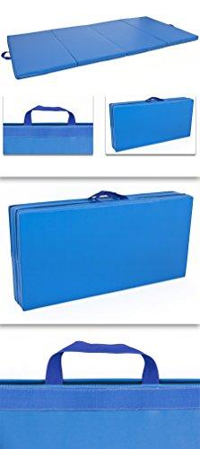 4-x-8-x-2-PU-Leather-Gymnastics-Tumbling-Martial-Arts-Folding-Mat-Blue-0-0