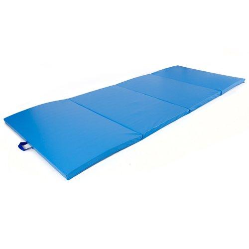 4-x-8-x-2-PU-Leather-Gymnastics-Tumbling-Martial-Arts-Folding-Mat-Blue-0-1