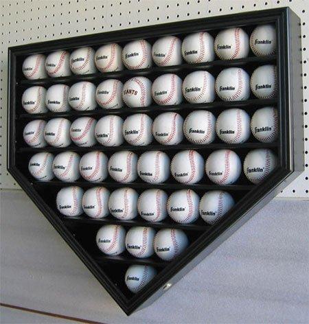 46-MLB-Baseball-Display-Case-Holder-Wall-Mounted-Cabinet-98-UV-Protection-Lock-Black-Finish-B46-BL-0