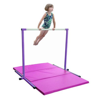 4ft-Purple-Horizontal-Bar-and-6ft-Pink-Folding-Gym-Mat-0