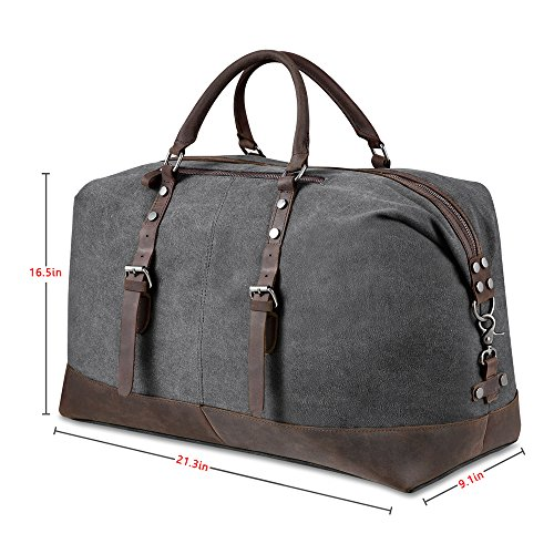 BLUBOON-Travel-Duffel-Bag-Canvas-Leather-Overnight-Bag-0-1