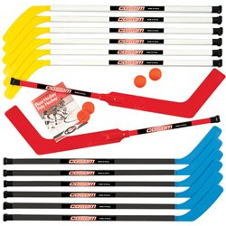 Cosom-By-Cramer-43-Inch-Junior-Hockey-Sticks-for-Floor-Hockey-and-Street-Hockey-16-Piece-Set-Standard-Shaft-12-Sticks-2-Balls-2-Pucks-0