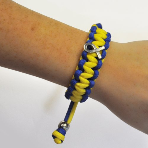 Down-Syndrome-Blue-and-Yellow-w-Awareness-Ribbon-Paracord-Adjustable-Bracelet-0-1
