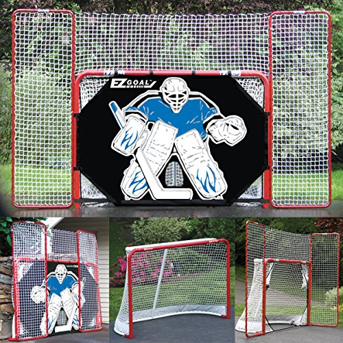 EZ-Goal-2-in-Folding-Steel-Hockey-Goal-with-Backstop-Shooter-Tutor-Targets-0