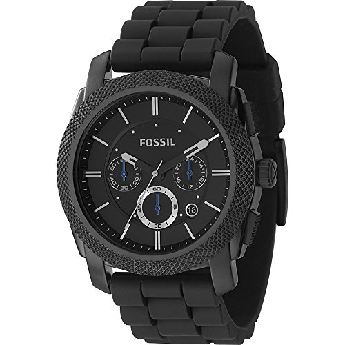 Fossil-Mens-FS4487-Machine-Chronograph-Black-Stainless-Steel-Watch-with-Silicone-Band-0