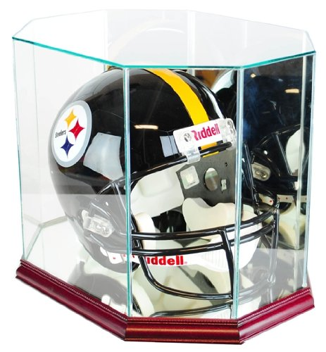 Full-Size-Football-Helmet-Display-Case-Glass-Top-with-Octagon-Cherry-Base-Made-In-America-0-0