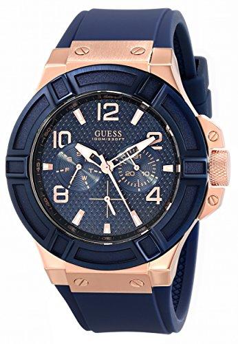 GUESS-Mens-U0247G3-Rigor-Blue-Rose-Gold-Tone-Silcone-Casual-Sport-Watch-0