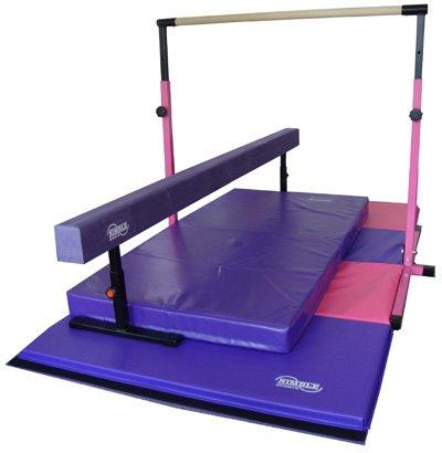 Little-Gym-Deluxe-Adjustable-Bar-Adjustable-Balance-Beam-8ft-Folding-Mat-6ft-Landing-Mat-0