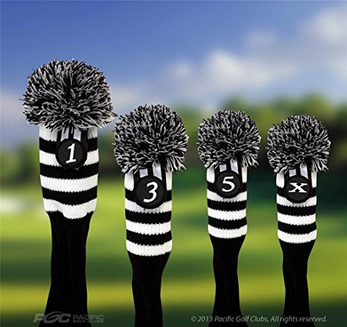 Pacific-Golf-Clubs-Head-Covers-1-3-5-X-Black-and-White-Knit-Retro-Old-School-Vintage-Stripe-Pom-Pom-Throwback-Classic-0-0