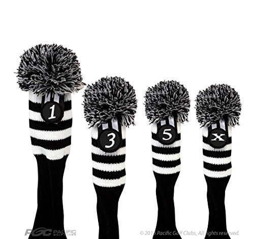 Pacific-Golf-Clubs-Head-Covers-1-3-5-X-Black-and-White-Knit-Retro-Old-School-Vintage-Stripe-Pom-Pom-Throwback-Classic-0