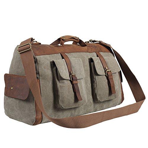 Polare-Genuine-Leather-Canvas-Travel-Bag-Weekend-Bag-Duffel-BagGym-Bag-0-0