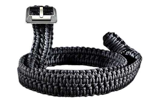 Survival-Paracord-Belt-RattlerStrap-550-Double-Cobra-Weave-with-Titanium-Belt-Buckle-American-Made-Camo-Black-Brown-0