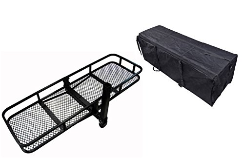 TMS-60inch-x-20inch-Hitch-Mount-Folding-Cargo-Carrier-Basket-w-Water-Resistant-Luggage-Bag-0