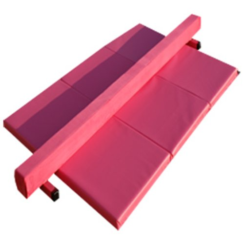 The-Beam-Store-Pink-Suede-Balance-Beam-and-Pink-Folding-Panel-Mat-8-Feet-0