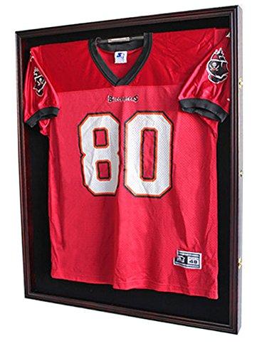 XX-Large-FootballBaseballHockey-Uniform-Jersey-Display-Case-frame-UV-Protection-ULTRA-CLEAR-LOCKS-Mahogany-Finish-JC02-MA-0