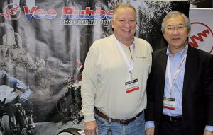 (Left) John Leale, Vee Rubber's vice president, North America ATV & Motorcycle, and managing director Vitorn Sukanjanapong.