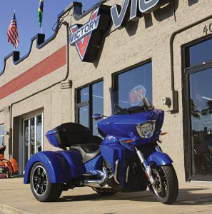 The new Roadsmith Victory VTR sat outside Daytona Beach Victory in the days after the store's grand opening at Bike Week in March.