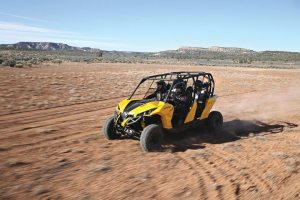 The Can-Am Maverick MAX features more rear-seat room than any other four-person sport side-by-side, according to the company.