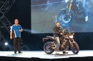 Three-time AMA SuperBike champion Josh Hayes rode Yamaha's new three-cylinder FZ-09 on stage, while Yamaha's Dennis McNeal discussed the bike's features.