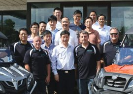 Executives from CFMOTO Power Co. Ltd. and CFMOTO Powersports toured the Leo's South dealership in Lakeville. Leo's South owners Randy (front row, left) and Wayne Bedeaux flanked Mr. Guogui Lai, president of CFMOTO.
