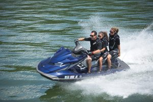 The flagship 2014 FX Cruiser SVHO cruiser, with two-tone Hydro-Turf, offers all the amenities, including Yamaha's proprietary NanoXcel hull and deck.