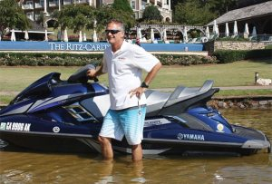 Scott Watkins, Yamaha Watercraft Group's product manager, shows off the 2014 FX Cruiser SVHO, featuring the new 1,812cc, four-stroke, four-cylinder SVHO engine, during a media event in Georgia.