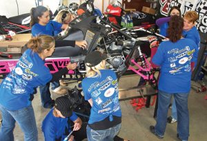A group of nine women, including two teenage girls, built their Ladies Ride snowmobile built project over the course of two days — one day ahead of schedule. Aside from the build project advocating for female snowmobile riders, the group also hosts several Ladies Ride events throughout the western states, as well as releasing a Ladies Ride calendar every year.