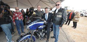 Las Vegas Harley-Davidson Vice President Timothy Cashman, Governor of Nevada Brian Sandoval, Las Vegas Harley-Davidson President Don Andress attend the ground breaking of Las Vegas Harley-Davidson's Las Vegas Strip location.