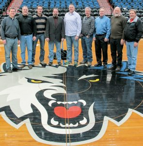 CFMOTO regional sales managers were treated to a Minnesota Timberwolves game as part of their meetings at company headquarters in Plymouth, Minn. VIP treatment landed them at center court following the game. (Left to right) Dave McMahon, editor in chief, Powersports Business; Dave Auringer, VP sales and marketing, CFMOTO; Jason Browning, Jay Danis, Dave Hrejsa, Nick Zierden, Chuck Schram, Ron Sackett, Nick Trumbo and Tony Heck (not pictured).