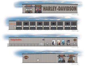 An artist's rendering of the new Duke City Harley-Davidson in Albuquerque, N.M., shows the emphasis that the dealership is placing on service.