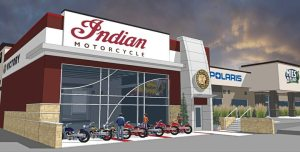 Mies Outland in Watkins, Minn., added a new showroom to its dealership for the Indian brand, as seen in this rendering.