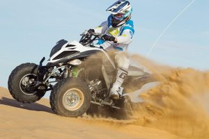 The Raptor 700R SE in Metallic Grey and White, shown at Glamis in California, is one of four 2014 Special Edition models unveiled by Yamaha. It has an $8,799 MSRP.