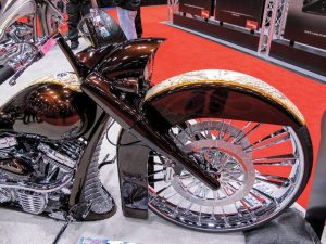 Vee Rubber launched its 32-inch front tire (with Metalsport Wheel) at V-Twin Expo in Cincinnati.