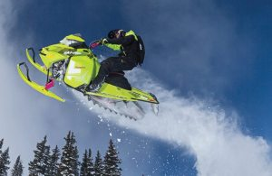 Bright, bold colors, such as the Manta Green/Magenta seen on the 2015 Freeride, played a big part in Ski-Doo's new model release.