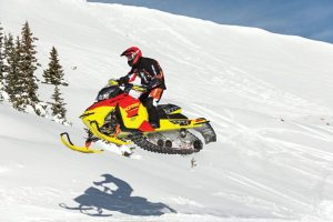 After fielding complaints about some color combinations such as this Fusion Red/Sunburst Yellow offering on the MXZ X-RS, Ski-Doo announced more muted colors would be available on certain models.