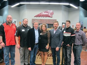 Industry types were well represented at the American Heritage Motorcycles Chicago West store's VIP grand opening. (From left) Jason Mroz, sales, American Heritage; Rob Shipinski, sales rep, Tucker Rocky Distributing; Dave Yeargin, Dominion Powersports; Amanda Blackstone and Duncan Butler, principals, The Butler Group Atlanta LLC; Mike Farrell, sales, American Heritage; and Matt Strader, Commercial Technology Leader at GE Capital, Commercial Distribution Finance.