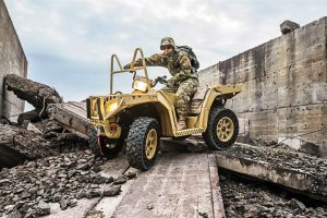 Polaris' non-pneumatic tires were originally designed for military use. In tests, they've kept moving, even after being shot with 50-caliber bullets.