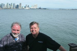 Dealer principal David Wiles from San Diego and PSB editor Dave McMahon at C Level — and sea level! — in San Diego.