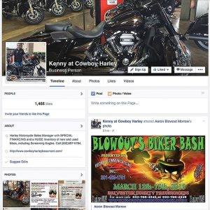 "In just under a year, assistant sales manager Kenny Enloe of Cowboy Harley-Davidson Beaumont in Texas has gained more than 1,460 Facebook likes on his ""Kenny at Cowboy Harley"" business page."