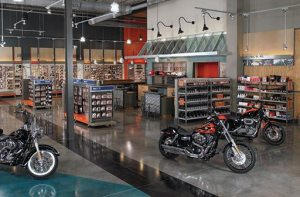 "Wildcat Harley-Davidson in London, Ky., is ""different than any you'll see at any H-D dealer in the country."" The 33,000-square-foot dealership features maple wood floors and hand-built fixtures."