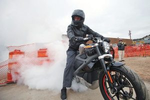 Carey Hart, motocross star and Grand Marshall of the 2015 Sturgis City of Riders Mayor's Ride, helped break ground on the Rally Point in Sturgis using a Harley-Davidson LiveWire bike.