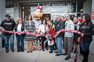 The ribbon cutting ceremony at Gotham Motorcycles brought out dignitaries including N.Y. Sen. Diane Savino.