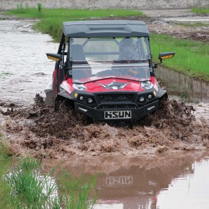 The 2015 Strike 1000 gets a workout at the Hisun Motors test track in China.