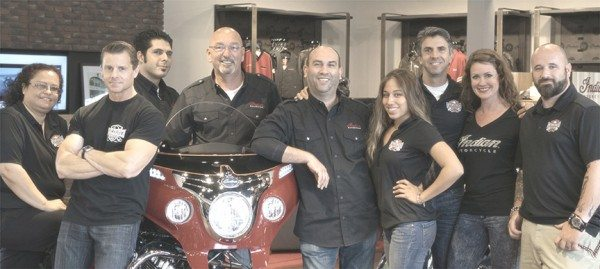 Indian Motorcycle Los Angeles staff, from left: Marisol Moya, Service Manager; Chris Clovis, EagleRider Vice-President; Sal LoGrasso, Sales Manager; Tambi Lowstan, General Manager; Gary Guillen, Finance Manager; Alexis Hinckley, Apparel Manager; Mario Vindeni, Rental Manager; Sally Case, Guest Relations Manager; and Dominick Isca, Service Writer.